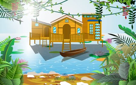 Wooden house in the marsh