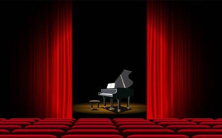 piano en el escenario en el pasillo Ilustración de vector