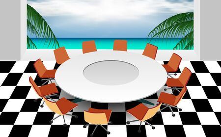 round table in the meeting room at the beach