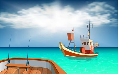 Fishing boats in the sea Illustration