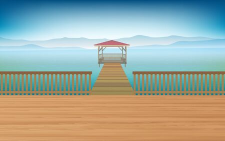 wooden pavilion in the river