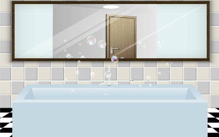 Wanna i lustro w łazience Ilustracje wektorowe