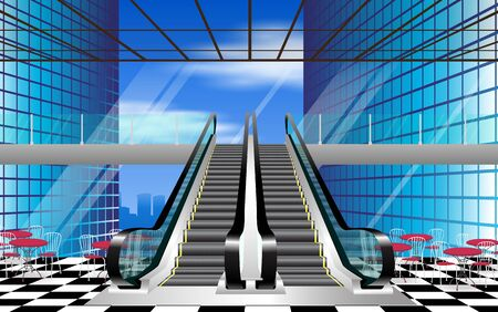 Escalators with glass roof in department stores