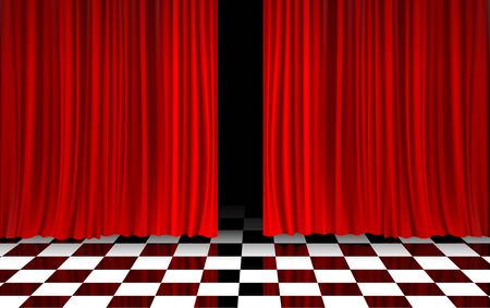 red curtain with black and white floor in the room Illustration