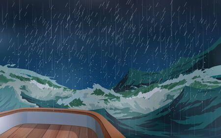El barco estaba en medio de una tormenta en el mar. Ilustración de vector