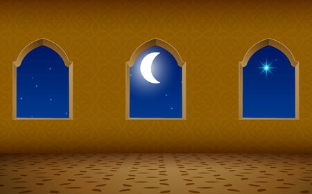 Mosque window in the night