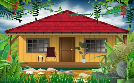 wood house in the jungle Иллюстрация