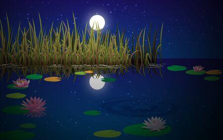 paisaje de pantano en la noche Ilustración de vector