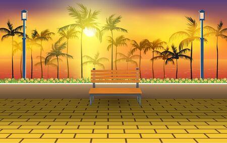 Banco en la pasarela de la playa por la noche