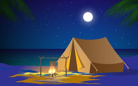 camping on the beach in the night
