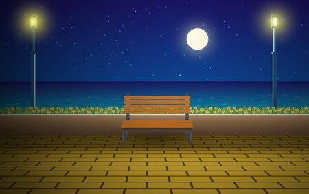 Bench at walkway on the beach in night