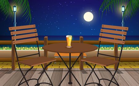 table and chair in cafe on the beach in the night Illustration