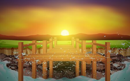 boardwalk at rock beach in morning  イラスト・ベクター素材