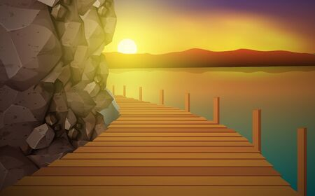 Wooden walkway board at the rocky mountains by the river in the morning Ilustración de vector