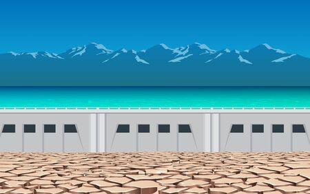 landscape of dry soil at the dam 일러스트