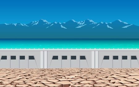 landscape of dry soil at the dam Illustration