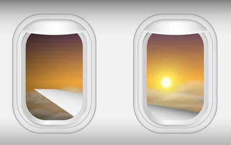 Vista de las ventanas del avión en el cielo por la mañana Ilustración de vector