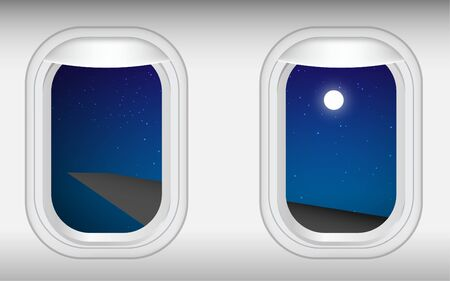 view at windows of plane in the night