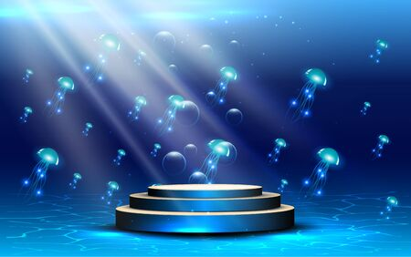podio blu sotto l'acqua con sfondo di meduse