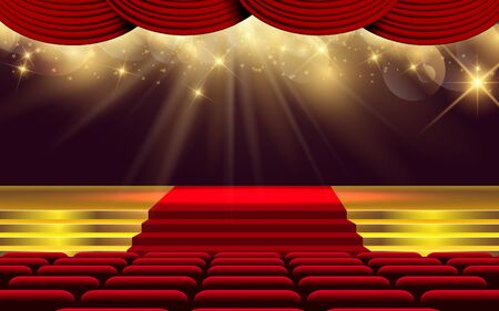 gold light on the stage in the hall Illustration