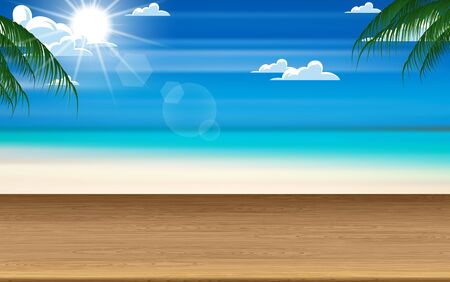 wooden table with sunlight on blue sky at the beach Illustration