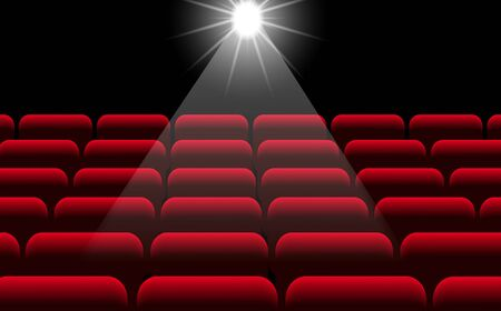 red chairs and light in the cinema hall Illustration