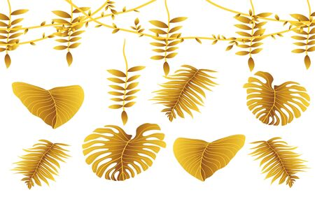 golden leafs abstract background Stock Vector - 128890441