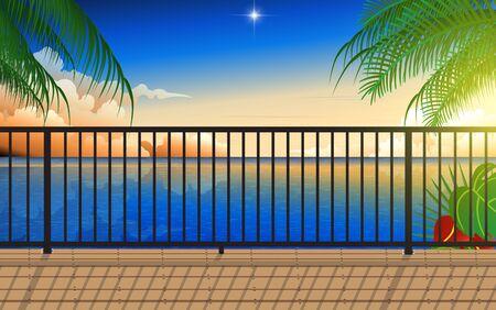 landscape of balcony at the beach in sunset Illusztráció