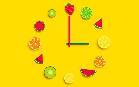 The clock is decorated with mixed fruits on the yellow background Imagens - 128890613