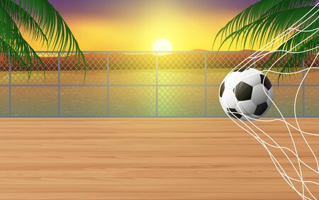 football field on the wooden floor at the river in the morning Ilustração