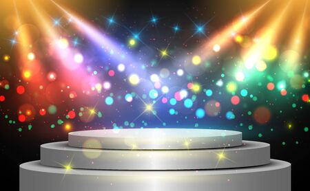 silver podium with colorful light on the stage