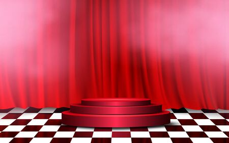 red podium with red curtain on the stage