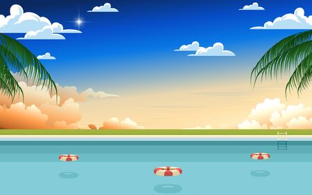 landscape of swimming pool at the beach in sunset  イラスト・ベクター素材