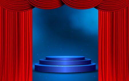 podium bleu avec rideau rouge sur scène