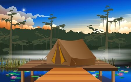 camping tent on the wooden floor at the swamp in the jungle Ilustração