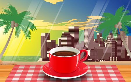 red coffee cup on the wooden table on the beach  イラスト・ベクター素材
