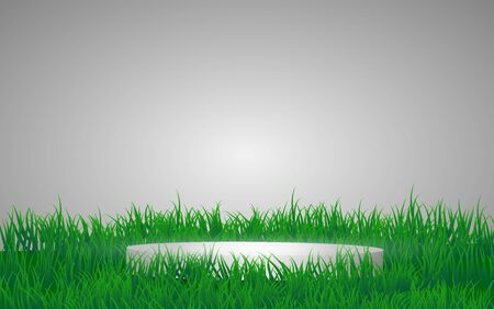 silver podium in the grass Иллюстрация
