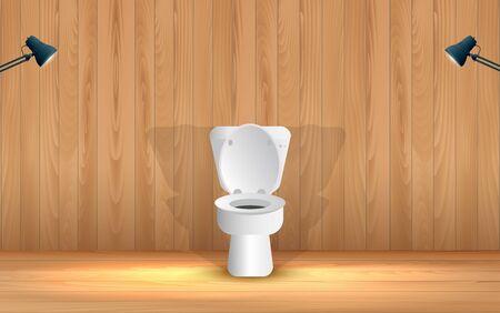 inodoro blanco en el baño de madera Ilustración de vector