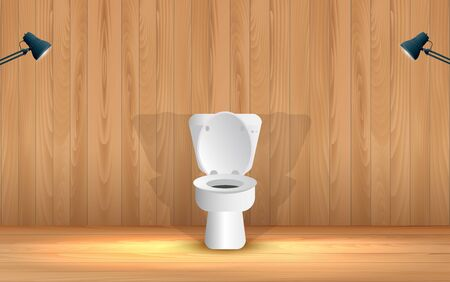 weiße Toilette im Holztoilettenraum Vektorgrafik