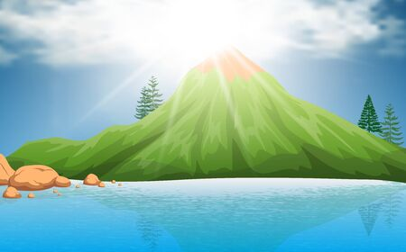 landscape of green mountain at the lagoon in daytime Иллюстрация