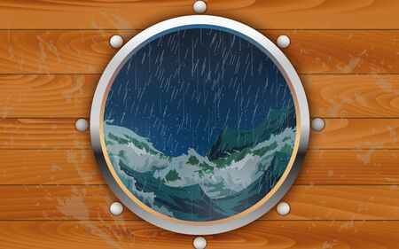 Window of the wooden ship in the storm