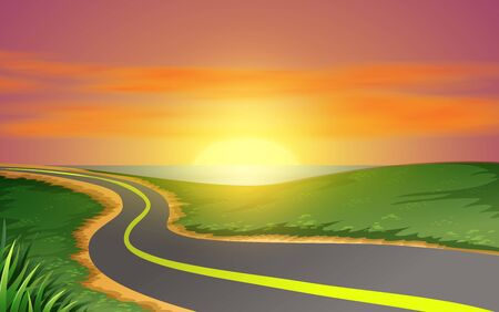 landscape of road on the beach in sunse