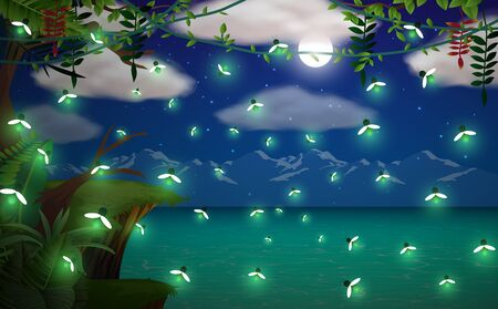 firefly in the jungle on the cliff in full moon night