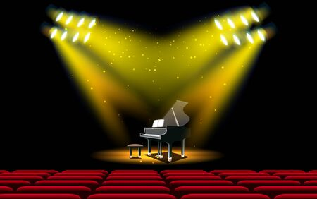 piano and spotlight on the stage in the hall
