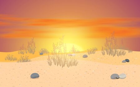 landscape of desert with clouds on the sky in sunset Иллюстрация