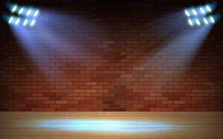 blue spotlight on the brick wall in the studio room