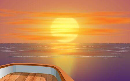 Blick auf den Sonnenuntergang am Meer auf einem Holzboot