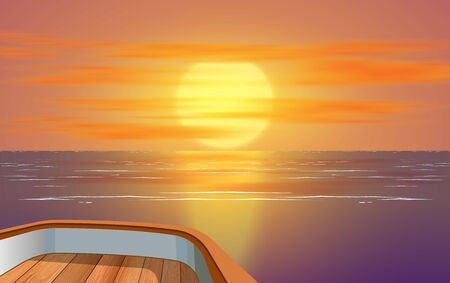 view of sunset at the ocean on wooden boat