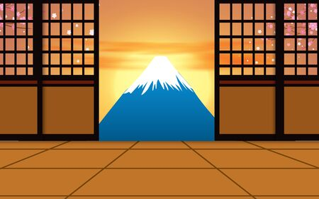 lanscape of fuji mountain in sunset