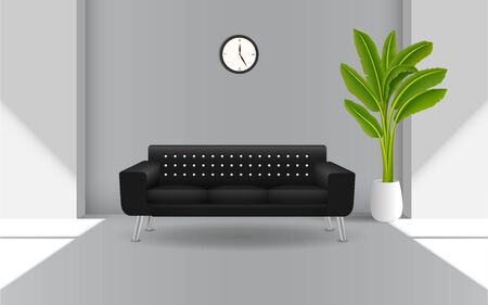 black sofa and banana tree in the living room